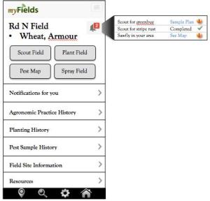 Figure 1. Mobile view of a field site example with crop/variety planting within a user account. This view shows alerts, action buttons, and information options associated with this field.