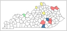 Figure 1. Known distribution of the blacklegged tick in Kentucky. (Color code: Blue= pre-2005, red = 2013, yellow= 2014, green = 2015).