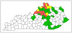 Figure 1. Known emerald ash borer distribution in Kentucky. Infestation levels and ash mortality are coded as follows: red=high, yellow=moderate, green=low, and white=undetected.