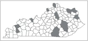 Figure 2. Blacklegged ticks have been confirmed from counties marked in gray.