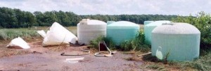 Figure 1. Collapsed poly tank. (Photo: Jack Knorek, Michigan Department of Agriculture and Rural Development)