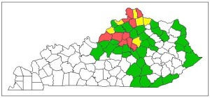 Figure 1. Known Kentucky counties with emerald ash borer infestations (color code: red= intense, yellow = moderate, green = present, white = no report)