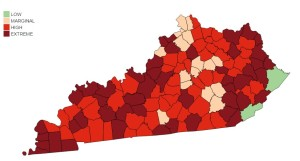 Figure 1: Fire blight risk for Kentucky counties as of April 18, 2016.