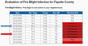 Figure 2: An example of a prediction model query for Fayette County on April 18, 2016. The blue arrow indicates the current date (date model was searched). Risk is based on weather from the previous four days. Note that warm conditions are favorable for the fire blight pathogen. The red arrow, on the other hand, indicates forecasted risk for a future date. It is based on temperature and moisture (in this case, humidity) forecasts for the four previous days.