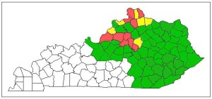 Figure 1. Known infestations of emerald ash borer (map color key: green = low; yellow = moderate; red = high)
