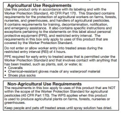 Figure 2. Agricultural Use Requirements box of a pesticide label.