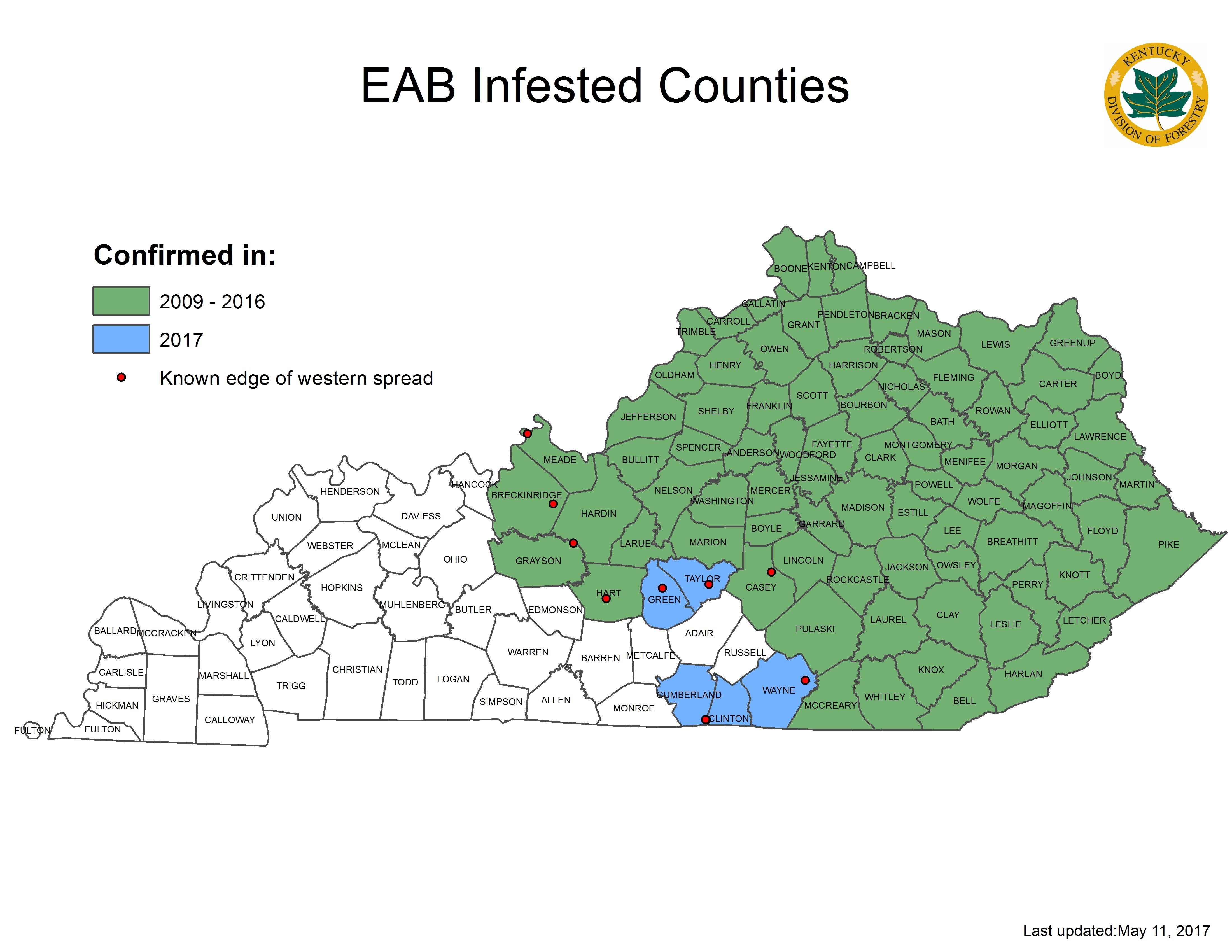 New County Reports Of Emerald Ash Borer Kentucky Pest News - Emerald ash borer map