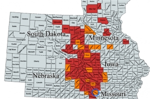Figure 1. Geographycal distribution of the soybean gall midge. Atchison county (MO) is indicated by the circle. Click on map for a larger view. (Photo: University of Nebraska Lincoln)